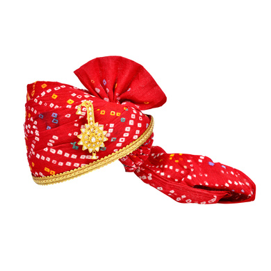 S H A H I T A J Traditional Rajasthani Jodhpuri Cotton Red Bandhej Wedding Groom or Dulha Pagdi Safa or Turban for Kids and Adults (RT615)-ST739_22andHalf