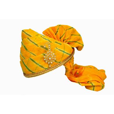 S H A H I T A J Traditional Rajasthani Jodhpuri Cotton Yellow Lehariya Wedding Groom or Dulha Pagdi Safa or Turban for Kids and Adults (RT617)-ST741_18andHalf