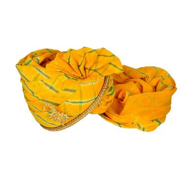 S H A H I T A J Traditional Rajasthani Jodhpuri Cotton Yellow Lehariya Wedding Groom or Dulha Pagdi Safa or Turban for Kids and Adults (RT617)-18-3