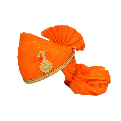S H A H I T A J Traditional Rajasthani Jodhpuri Cotton Orange Wedding Groom or Dulha Straight Line Pagdi Safa or Turban for Kids and Adults (RT618)-ST742_20andHalf