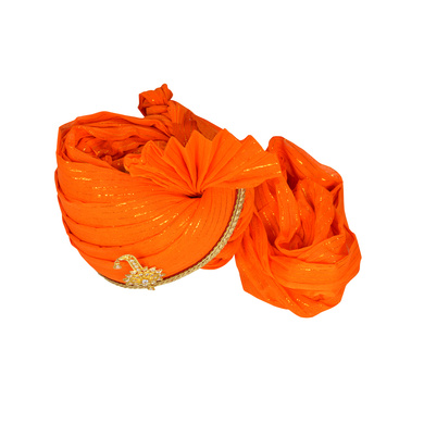 S H A H I T A J Traditional Rajasthani Jodhpuri Cotton Orange Wedding Groom or Dulha Straight Line Pagdi Safa or Turban for Kids and Adults (RT618)-18-3