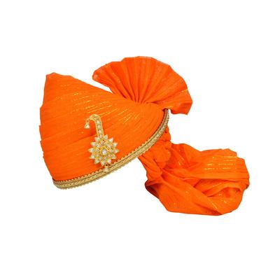 S H A H I T A J Traditional Rajasthani Jodhpuri Cotton Orange Wedding Groom or Dulha Straight Line Pagdi Safa or Turban for Kids and Adults (RT618)-ST742_23andHalf