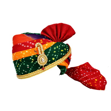 S H A H I T A J Traditional Rajasthani Jodhpuri Cotton Multi-Colored Bandhej Wedding Groom or Dulha Pagdi Safa or Turban for Kids and Adults (RT619)-ST743_23andHalf
