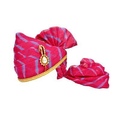 S H A H I T A J Traditional Rajasthani Jodhpuri Cotton Pink Lehariya Wedding Groom or Dulha Pagdi Safa or Turban for Kids and Adults (RT620)-ST744_23andHalf