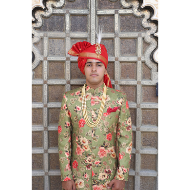 S H A H I T A J Traditional Rajasthani Wedding Red Silk Jodhpuri Pagdi Safa or Turban for Groom or Dulha (CT270)-ST350_21