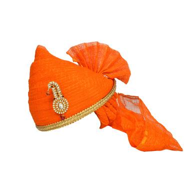 S H A H I T A J Traditional Rajasthani Jodhpuri Cotton Orange Kotadoriya Wedding Groom or Dulha Pagdi Safa or Turban for Kids and Adults (RT621)-ST745_21andHalf