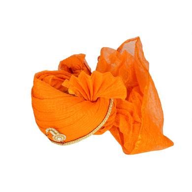 S H A H I T A J Traditional Rajasthani Jodhpuri Cotton Orange Kotadoriya Wedding Groom or Dulha Pagdi Safa or Turban for Kids and Adults (RT621)-18-3