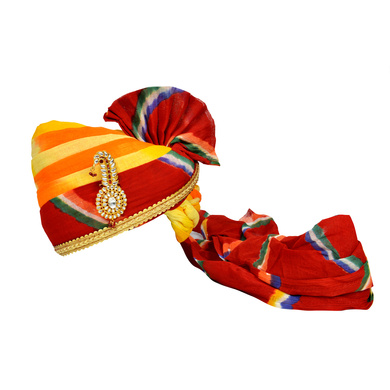 S H A H I T A J Traditional Rajasthani Jodhpuri Cotton Multi-Colored Wedding Groom or Dulha Pagdi Safa or Turban for Kids and Adults (RT622)-ST746_18andHalf