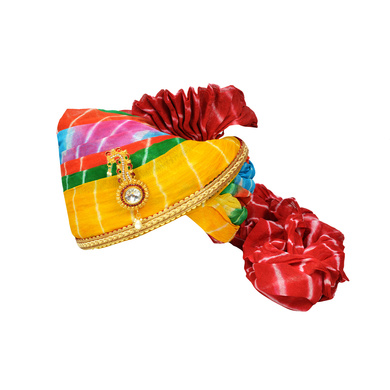 S H A H I T A J Traditional Rajasthani Jodhpuri Cotton Multi-Colored Lehariya Wedding Groom or Dulha Pagdi Safa or Turban for Kids and Adults (RT623)-ST747_21