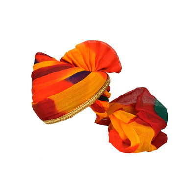 S H A H I T A J Traditional Rajasthani Jodhpuri Cotton Multi-Colored Wedding Groom or Dulha Pagdi Safa or Turban for Kids and Adults (RT624)-ST748_18andHalf