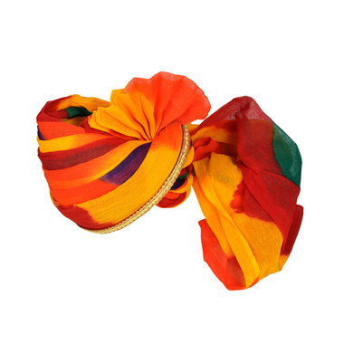 S H A H I T A J Traditional Rajasthani Jodhpuri Cotton Multi-Colored Wedding Groom or Dulha Pagdi Safa or Turban for Kids and Adults (RT624)-18-3
