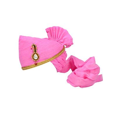 S H A H I T A J Traditional Rajasthani Jodhpuri Cotton Pink Wedding Groom or Dulha Pagdi Safa or Turban for Kids and Adults (RT625)-ST749_18andHalf
