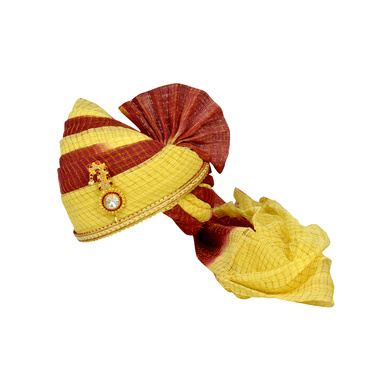 S H A H I T A J Traditional Rajasthani Jodhpuri Cotton Maroon & Cream Kotadoriya Wedding Groom or Dulha Pagdi Safa or Turban for Kids and Adults (RT626)-ST750_18andHalf
