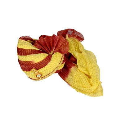 S H A H I T A J Traditional Rajasthani Jodhpuri Cotton Maroon & Cream Kotadoriya Wedding Groom or Dulha Pagdi Safa or Turban for Kids and Adults (RT626)-18-3