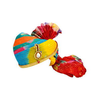 S H A H I T A J Traditional Rajasthani Jodhpuri Cotton Multi-Colored Wedding Groom or Dulha Pagdi Safa or Turban for Kids and Adults (RT627)-ST751_18andHalf