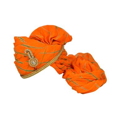 S H A H I T A J Traditional Rajasthani Jodhpuri Cotton Orange Lehariya Wedding Groom or Dulha Pagdi Safa or Turban for Kids and Adults (RT628)-ST752_19andHalf