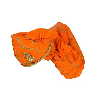S H A H I T A J Traditional Rajasthani Jodhpuri Cotton Orange Lehariya Wedding Groom or Dulha Pagdi Safa or Turban for Kids and Adults (RT628)-18-3
