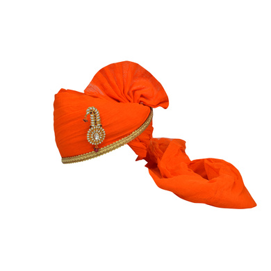 S H A H I T A J Traditional Rajasthani Jodhpuri Cotton Orange Wedding Groom or Dulha Pagdi Safa or Turban for Kids and Adults (RT629)-ST753_21andHalf