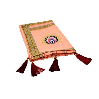 S H A H I T A J Traditional Rajasthani Wedding Floral Peach Silk Stole/Dupatta/Shawl for Groom or Dulha (DS631)-ST755