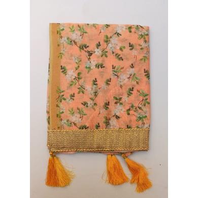 S H A H I T A J Traditional Rajasthani Wedding Sabhyasachi Floral Peach Silk Stole/Dupatta/Shawl for Groom or Dulha (DS634)-ST759