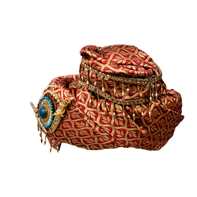 S H A H I T A J Traditional Royal Maharaja Designer Brocade Pagdi Safa or Turban for Fashion Shows & Events (DT639)-18-3