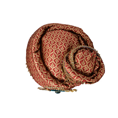 S H A H I T A J Traditional Royal Maharaja Designer Brocade Pagdi Safa or Turban for Fashion Shows & Events (DT639)-18-4