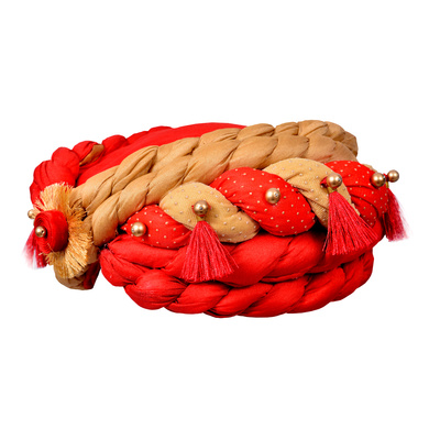 S H A H I T A J Traditional Rajasthani Royal Her Highness Designer Red & Golden Silk Rope Pagdi Safa or Turban for Women & Girls (DT640)-18-3