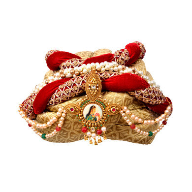 S H A H I T A J Designer Maharani Brocade & Velvet Designer Red & Golden Women & Girls Pagdi Safa or Turban with Beautiful Pearls (DT641)-ST767_21
