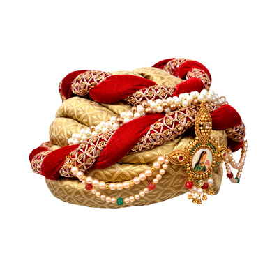 S H A H I T A J Designer Maharani Brocade & Velvet Designer Red & Golden Women & Girls Pagdi Safa or Turban with Beautiful Pearls (DT641)-18-3