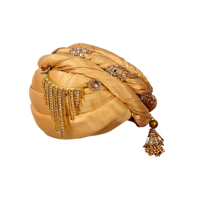 S H A H I T A J Designer Golden Silk Kids and Adults Pagdi Safa or Turban for Fashion Shows & Events (DT643)-18-3
