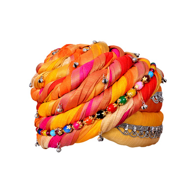 S H A H I T A J Designer Multi-Colored Silk Women & Girls Pagdi Safa or Turban for Fashion Shows & Events (DT657)-ST783_18andHalf