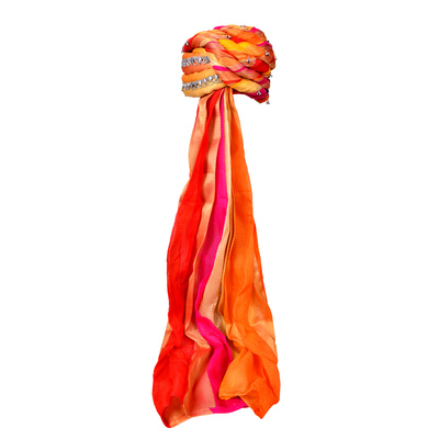 S H A H I T A J Designer Multi-Colored Silk Women & Girls Pagdi Safa or Turban for Fashion Shows & Events (DT657)-18-4