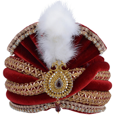 S H A H I T A J Traditional Rajasthani Designer Velvet Maroon & Golden Maharaja Groom or Dulha Pagdi Safa or Turban for Kids and Adults (RT658)-ST784_20andHalf