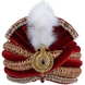 S H A H I T A J Traditional Rajasthani Designer Velvet Maroon & Golden Maharaja Groom or Dulha Pagdi Safa or Turban for Kids and Adults (RT658)-ST784_22andHalf-sm