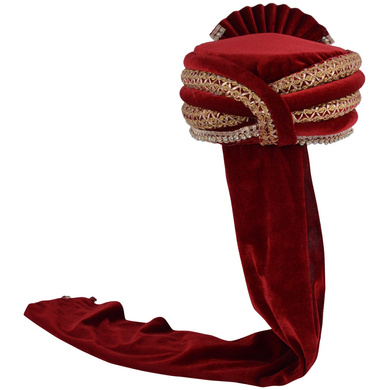 S H A H I T A J Traditional Rajasthani Designer Velvet Maroon & Golden Maharaja Groom or Dulha Pagdi Safa or Turban for Kids and Adults (RT658)-18-4