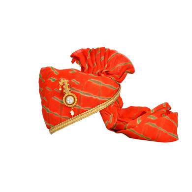 S H A H I T A J Traditional Rajasthani Jodhpuri Cotton Orange or Kesariya Lehariya Wedding Groom or Dulha Pagdi Safa or Turban for Kids and Adults (RT659)-ST785_19andHalf