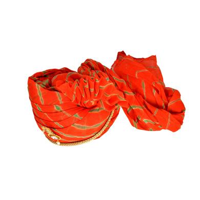 S H A H I T A J Traditional Rajasthani Jodhpuri Cotton Orange or Kesariya Lehariya Wedding Groom or Dulha Pagdi Safa or Turban for Kids and Adults (RT659)-18-3