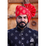 S H A H I T A J Traditional Rajasthani Wedding Barati Cotton Red Foil Udaipuri Pagdi Safa or Turban for Kids and Adults (CT660)