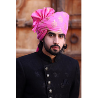 S H A H I T A J Traditional Rajasthani Wedding Barati Cotton Pink Foil Udaipuri Pagdi Safa or Turban for Kids and Adults (CT661)