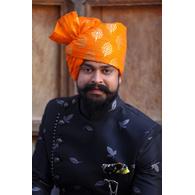 S H A H I T A J Traditional Rajasthani Wedding Barati Cotton Orange Foil Udaipuri Pagdi Safa or Turban for Kids and Adults (CT662)