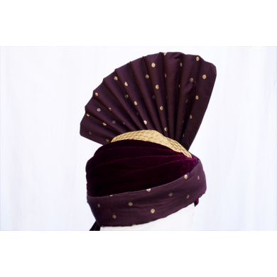 S H A H I T A J Pakistani Kulla Muslim Weddings and Social Occasions Purple Brocade & Velvet Pagdi Safa or Turban for Kids and Adults (RT663)-18-4