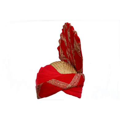 S H A H I T A J Pakistani Kulla Muslim Weddings and Social Occasions Red Silk Pagdi Safa or Turban for Kids and Adults (RT664)-ST790_22andHalf
