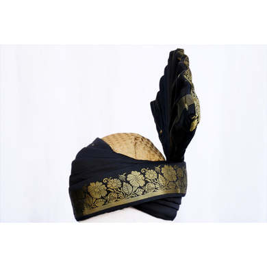 S H A H I T A J Pakistani Kulla Muslim Weddings and Social Occasions Violet Brocade Pagdi Safa or Turban for Kids and Adults (RT665)-ST791_22andHalf