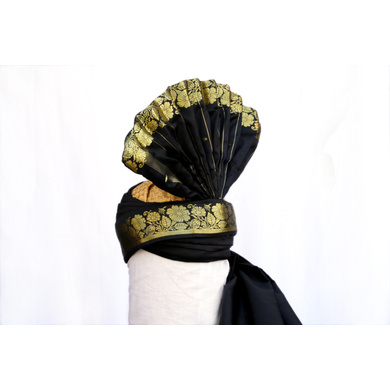 S H A H I T A J Pakistani Kulla Muslim Weddings and Social Occasions Violet Brocade Pagdi Safa or Turban for Kids and Adults (RT665)-18-4