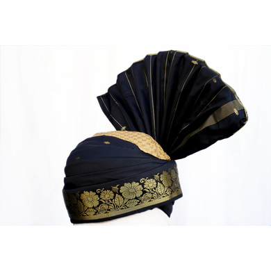 S H A H I T A J Pakistani Kulla Muslim Weddings and Social Occasions Violet Brocade Pagdi Safa or Turban for Kids and Adults (RT665)-18-3
