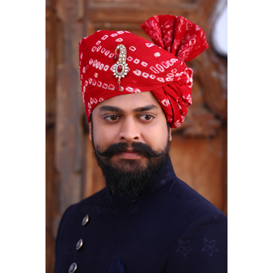 S H A H I T A J Traditional Rajasthani Wedding Barati Red Bandhej Cotton Udaipuri Pagdi Safa or Turban for Kids and Adults (CT159)-ST239_18