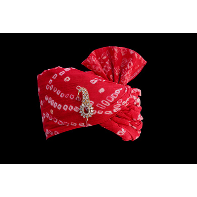S H A H I T A J Traditional Rajasthani Wedding Barati Red Bandhej Cotton Udaipuri Pagdi Safa or Turban for Kids and Adults (CT159)-18-3
