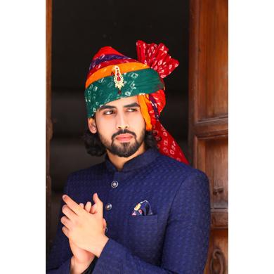 S H A H I T A J Traditional Rajasthani Wedding Barati Multi-Colored Cotton Pachrangi Bandhej Jodhpuri & Rajputi Pagdi Safa or Turban for Kids and Adults (CT198)-ST278_18