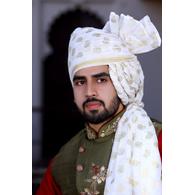 S H A H I T A J Traditional Rajasthani Wedding Barati Chanderi Silk Printed White Foil Udaipuri Pagdi Safa or Turban for Kids and Adults (CT666)