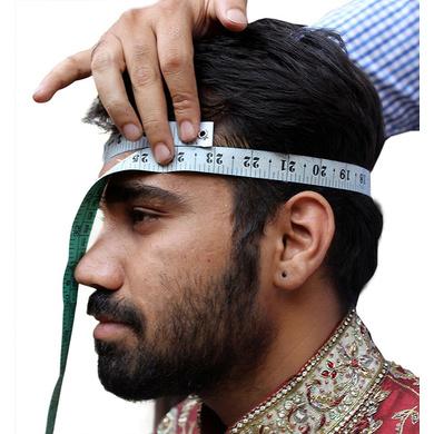 S H A H I T A J Traditional Rajasthani Wedding Barati Chanderi Silk Printed White Foil Udaipuri Pagdi Safa or Turban for Kids and Adults (CT666)-19.5-1